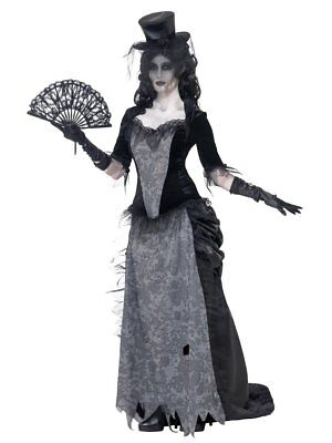 Smiffys Ghost Town Black Widow Gothic Ghostly Womens Halloween Costume 24575 ()