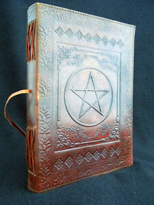 Large PENTAGRAM Pagan Wicca Handmade Leather Book-of-Shadows Journal Grimoire