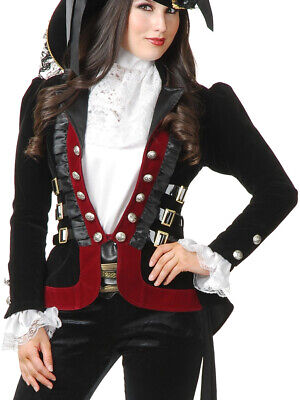 Womens Sultry Pirate Lady Black And Wine Velvet Captain Costume Jacket Coat - Pirate Coat For Women