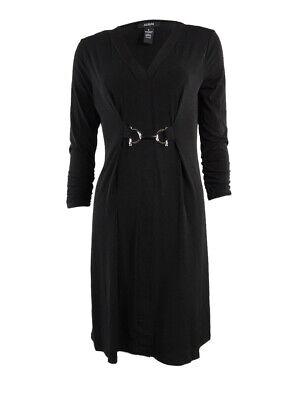 Alfani Women's Ruched Sleeves V-Neck Jersey Dress S, Deep Black Black Ruched Jersey V-neck