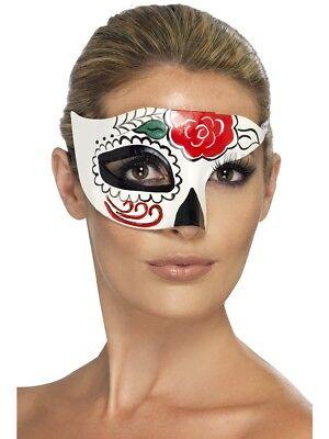 Tag der Toten Zuckerschädel Halb Augen Maske Damen Kostüm (Zucker Schädel Maske Kostüm)