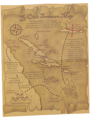 New Adults or Child Pirate Costume Accessory Treasure Map