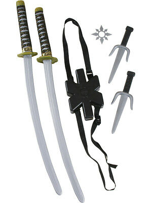 Japanese Samurai Black Ninja Double Toy Sword Anti-Hero Costume Accessory Kit (Japanese Samurai Costumes)