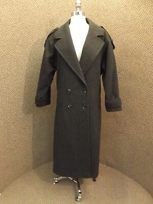 Spy Trenchcoat (Unworn? Charcoal Gray 100% Wool Long Length Spy Trench Coat Sz 8 Career Business)