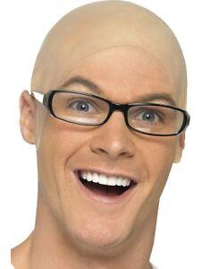 Smiffys Latex Fake Bald Head Skinhead Wig Cap Clown Mens Ladies Fancy Dress