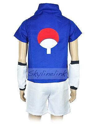 Naruto Shippuden Sasuke Uchiha Anime Cosplay Kostüm Fasching Costume Set Blau