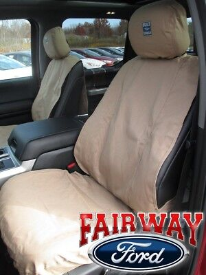 15 thru 19 F-150 Genuine Ford Premium Front Captain Chair Seat Covers TAUPE ()