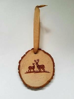 RUSTIC WOOD DEER BUCK AND DOE CHRISTMAS ORNAMENT