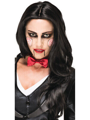 Saw Clown Costume (Adult's Womens Saw Killer Jigsaw Billy The Puppet Clown Wig Costume)