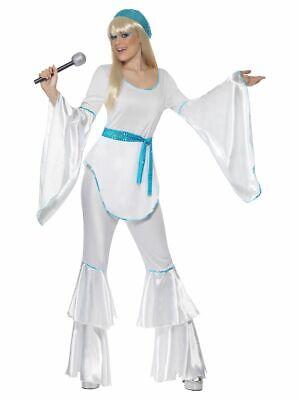 SMIFFY 33483 70er Jahre Super Trooper Musik Star Karneval Damen Kostüm weiß - Abba Kostüm Damen