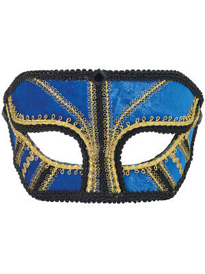Venetian Costumes And Masks (Deluxe Costume Blue And Gold Venetian Carnival Mask With Black Lace)