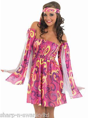 Femmes Rose Hippie 1960s Années 60 Costume Déguisement 8-26 Grande (Kostüme Annees 60)