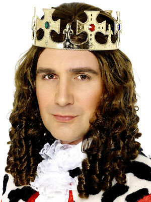Gold Kings Krone Herren Edles Tiara Erwachsene Royalty Kostüm Zubehör
