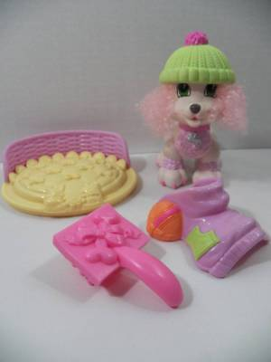 ~Fisher Price~ Snap n' Style Doll Pets CHERI Poodle Dog Clip On Outfits