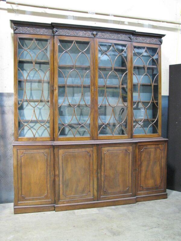 C. 1810-20 English Mahogany Breakfront Bookcase w/ Carved Rams Head Cornice