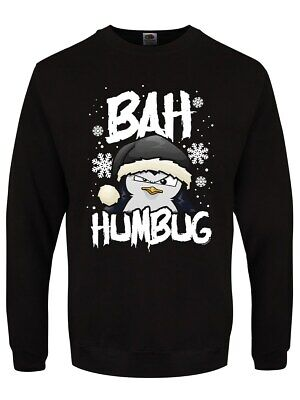 Christmas Jumper Psycho Penguin Bah Humbug Men's Black Sweater ()