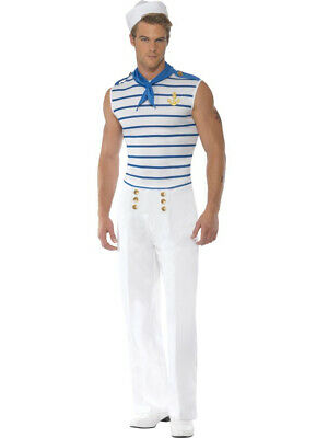 Adults Men's Classic French Navy Sailor Costume Medium 38-40 - French Men Costume