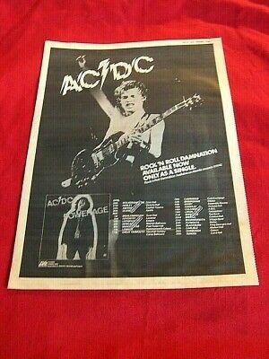 RARE AC/DC 1978 VINTAGE MUSIC PRESS POSTER ADVERT POWERAGE UK TOUR DATES