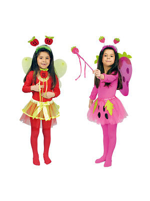 4er-Set für Kinder Früchtchen Haarreif, Zauberstab, Flügel und Rock Kostüm ()