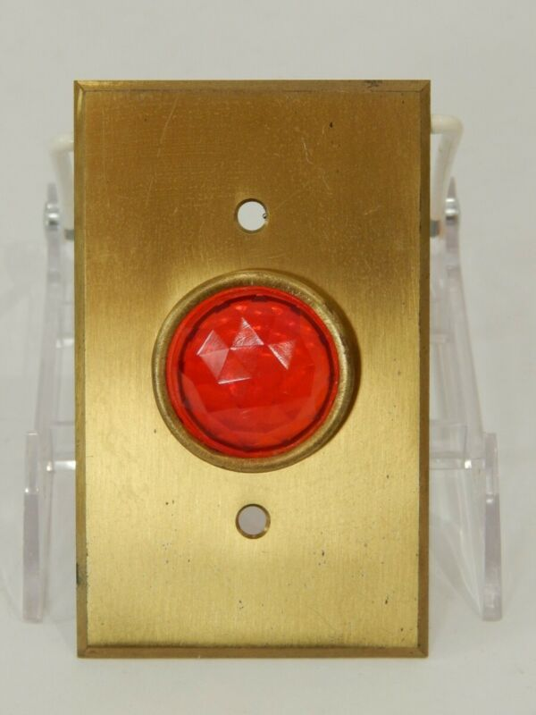 VTG Bryant Red Jeweled Indicator Light Brass Switch Plate Outlet Cover