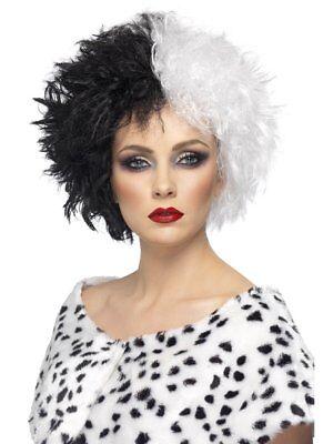 Smiffys Evil Madame Dalmatians Black & White Villain Halloween Costume Wig 42117](Black White Wigs Halloween)