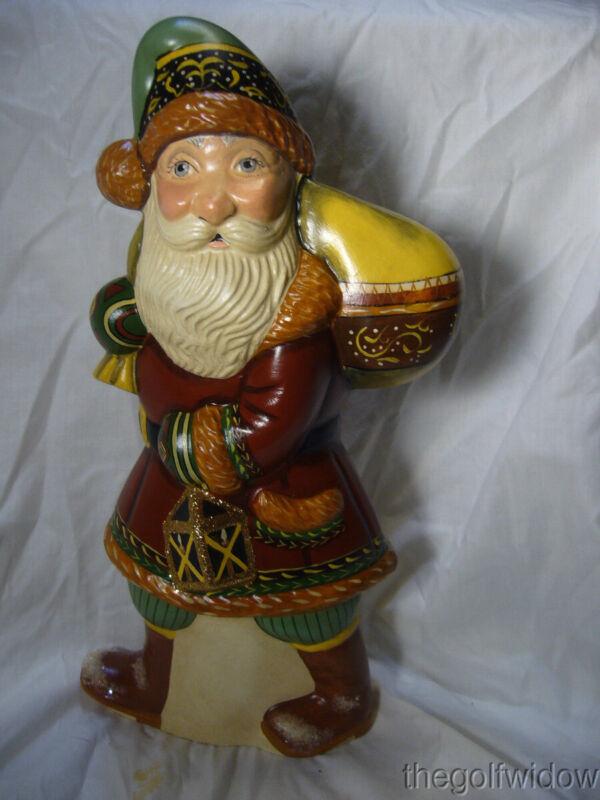 Vaillancourt Folk Art  Hiking Santa with Traditional Fur Trimmed Coat Signed