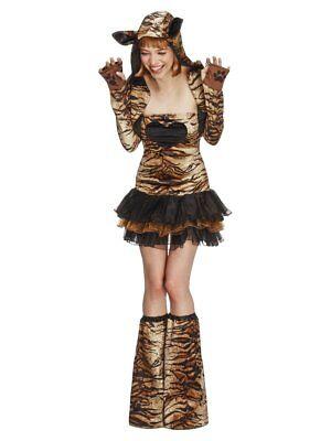 Fever Tiger Sexy Tutu Dress Animal Print Boot Covers & Jacket Women's Costume SM (Tiger Costume Women)