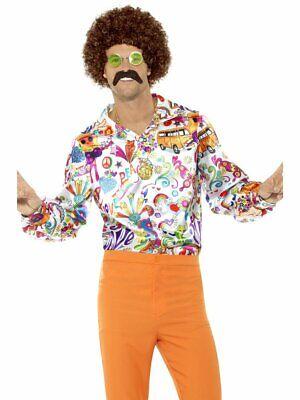 Smiffys 60s Groovy Hippie Peace Disco Shirt Adult Mens Halloween Costume 44910 - 60s Halloween Costumes Men