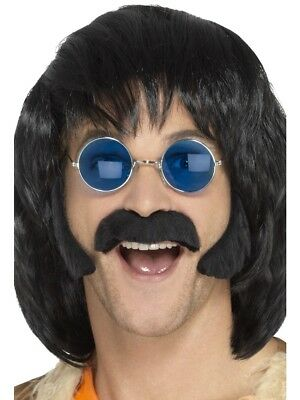Hippie Black Porkchop Sideburns & Moustache Adult Mens Hippy 60s Fancy Dress - Porkchop Sideburns