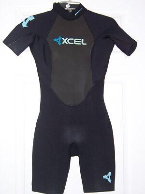 Black Spring Wetsuit (XCEL 2 mm ladies womens spring shorty Wetsuit 4  black swim surf snorkel)