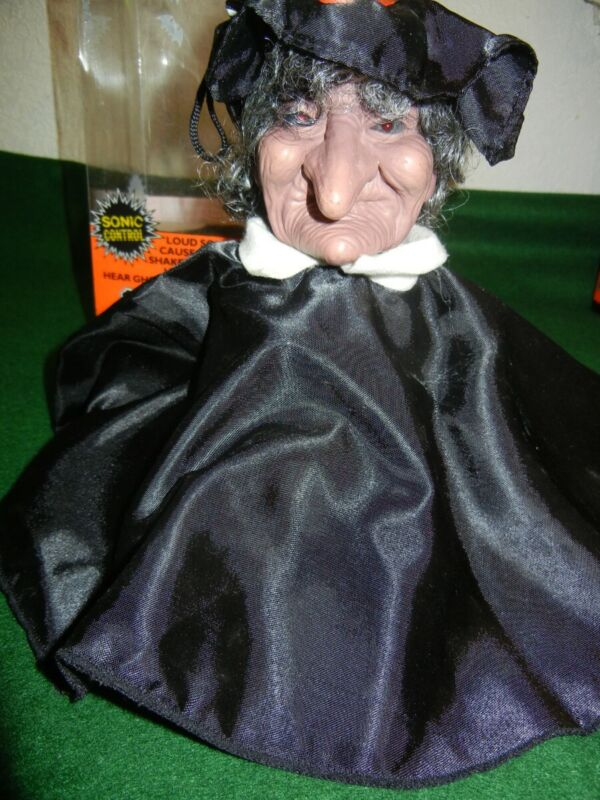 SHAKING HORROR HEAD * WITCH * TELCO 1990 LIGHTED / SOUND ACTIVATED * RARE *