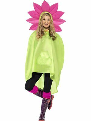 Smiffys Blume Daisy Rosa Grün Party Regenponcho Erwachsene - Daisy Blume Kostüme