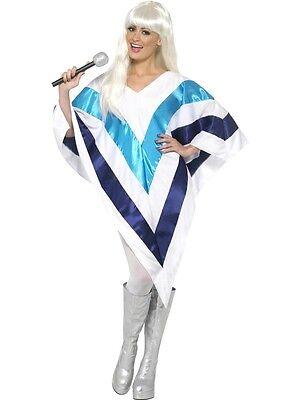 Damen Disko Queen Cape Poncho 1970s 70s Jahre Jahrzehnte Kostüm Kleid Outfit
