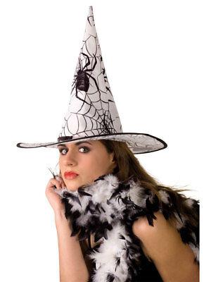Halloween Hexenhut weiß Spinnen Spider Fasching Karneval ()