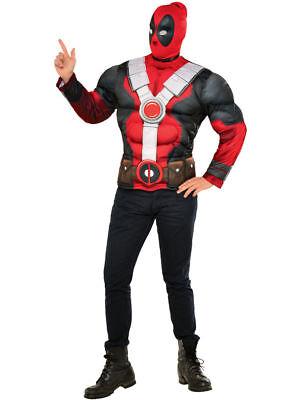 Herren Deluxe Deadpool Gepolstert Muskelshirt mit Maske Kostüm Halloween XL