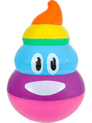 Texting Emoji Rainbow Poop Emoticon 3D Pool Party Inflatable 24