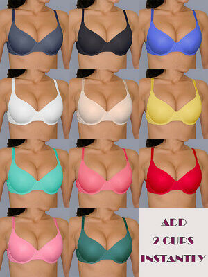 32 34 36 38 Very SEXY Underwire EXTREME PUSH UP Bra ADD Two 2 CUP SIZES BRA
