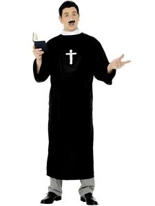 Vicar Priest Costume Outfit Father Cardinal Saint Mens Fancy Dress LRG (20422L)