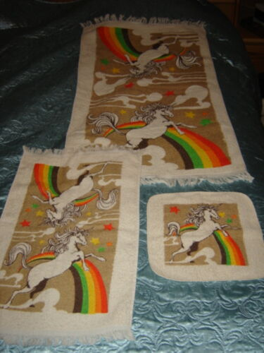 Vintage Cannon UNICORN & RAINBOWS Towel Set! Bath/Hand/Kitchen/Wash, USA, NEW!