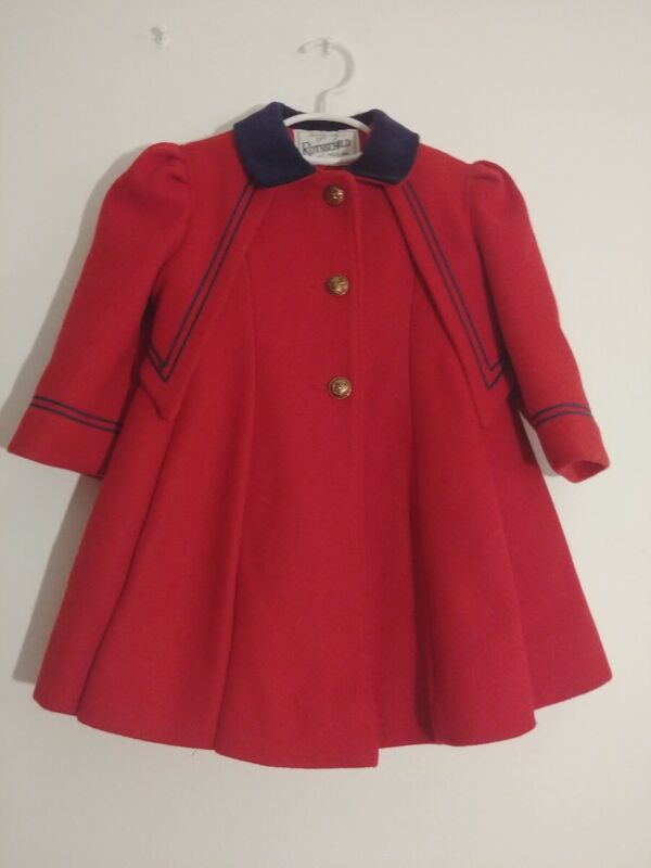 Vintage 1960s Rothschild Size 1 Baby Girl Wool Nautical Sailor Red Dress Coat