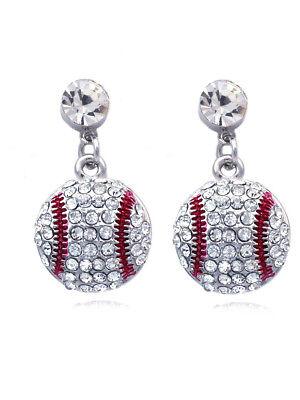 Small Baseball Sport Dot Dangle Clear Crystal Pave Charm Post Earrings - Crystal Post Dangle Earrings