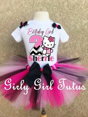 Girl Black Pink Tutu Outfit Party Dress Set (Hello Kitty Tutu-outfit)