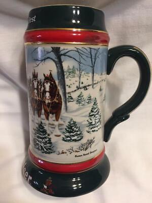 1991 Budweiser Ceramic Christmas Beer Stein The Seasons Best Ceramarte