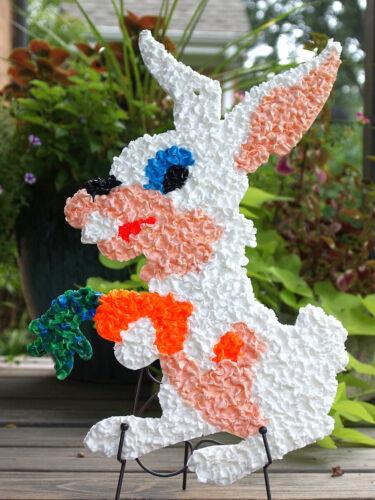 Vtg Melted Plastic Popcorn Easter Decor Rabbits Chick Duck Lot of 4 w/Labels