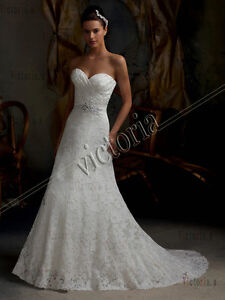 White/Ivory Lace Beaded Bridal Gown Wedding Dress Size 6 8 10 12 14 16 Free Belt