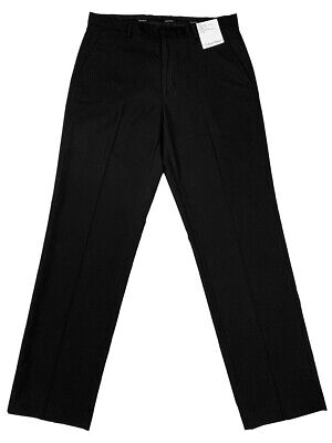 Calvin Klein Mens Classic Fit Flat Front Dress Pants Black New