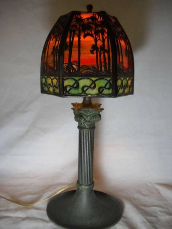 "Antique Signed Handel Slag Glass Table Lamp 17 1/2"" Gorgeous Intricate Design"