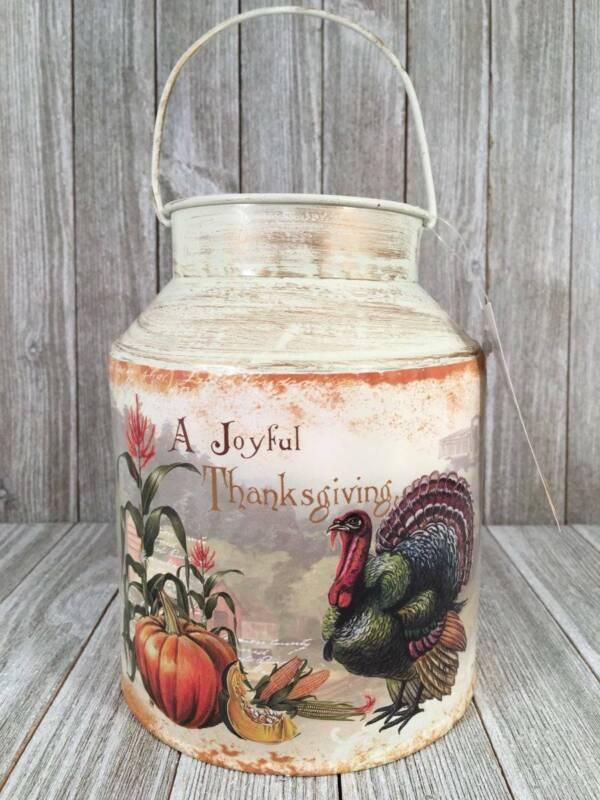 Thanksgiving Vtg Style Turkey Postcard Harvest Milk Metal Can Farmhouse Decor