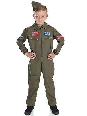Jungen Luft Kadett Armee Militär khaki Uniform Aviator Kostüm Verkleidung Outfit