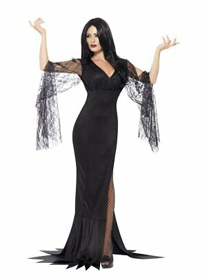 Womens Morticia Costume Long Black Fancy Dress Lace Gown Sexy Halloween Adult - Morticia Costumes